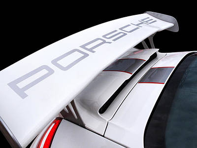 Color On Black Photograph - Porsche Gt3 Rs4 Spoiler by Gill Billington