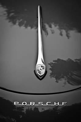 Porsche Logo Photograph - Porsche Hood Emblem -0516bw by Jill Reger