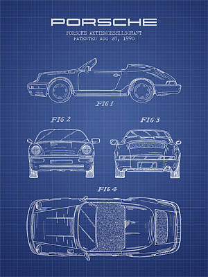 Technical Drawing Digital Art - Porsche Patent From 1990 - Blueprint by Aged Pixel