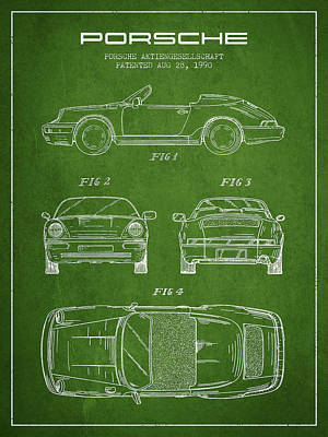 Cayenne Drawing - Porsche Patent From 1990 - Green by Aged Pixel