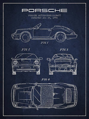 Cayenne Drawing - Porsche Patent From 1990 - Navy Blue by Aged Pixel