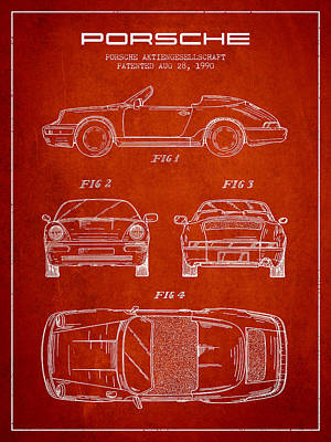 Cayenne Drawing - Porsche Patent From 1990 - Red by Aged Pixel