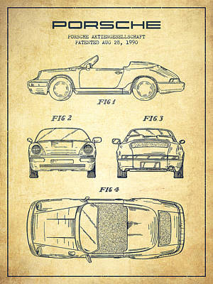 Cayenne Drawing - Porsche Patent From 1990 - Vintage by Aged Pixel