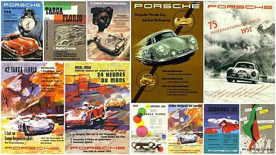 Porsche Racing Posters Collage Art Print by Don Struke