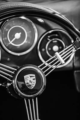 Photograph - Porsche Speedster Steering Wheel Emblem -2065bw by Jill Reger