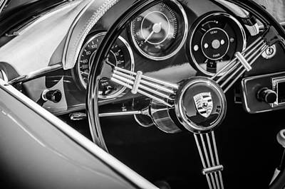 Vintage Sports Cars Photograph - Porsche Steering Wheel Emblem -2043bw by Jill Reger