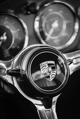 Photograph - Porsche Super 90 Steering Wheel Emblem -1548bw by Jill Reger