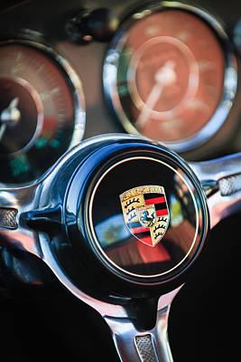 Photograph - Porsche Super 90 Steering Wheel Emblem -1548c by Jill Reger