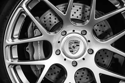 Porsche Logo Photograph - Porsche Wheel Emblem -1323bw by Jill Reger