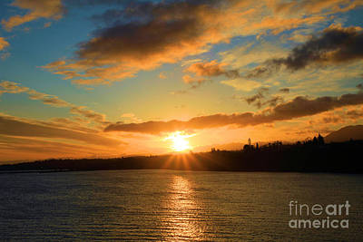 Photograph - Port Angeles Sunburst by Adam Jewell