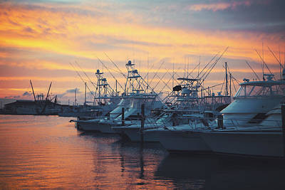 Port Aransas Marina Sunset Art Print by Ray Devlin