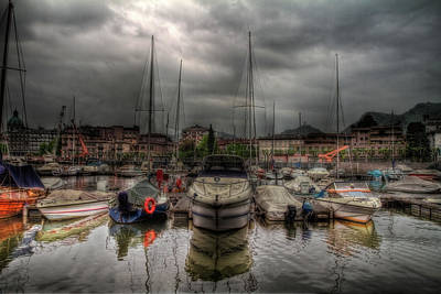 Port At Como Lake Art Print