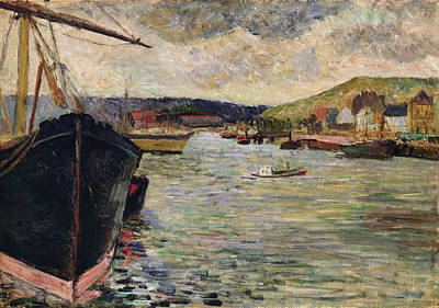 Post-impressionist Photograph - Port At Rouen Oil On Canvas by Paul Gauguin
