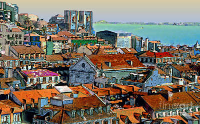 Port City Of Lisbon Art Print by Linda  Parker