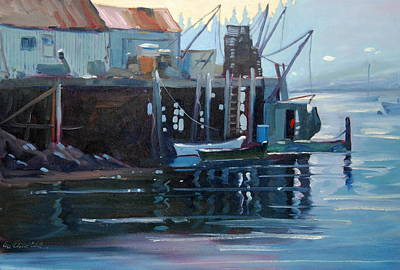 Lobster Boat Maine Painting - Port Clyde Maine by Len Stomski