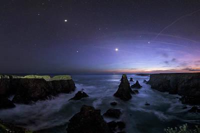 Planets Photograph - Port Coton Needles At Dusk by Laurent Laveder