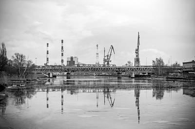 Built Structure Mixed Media - Port Cranes Near Szczecin Port. by Christopher Adamin