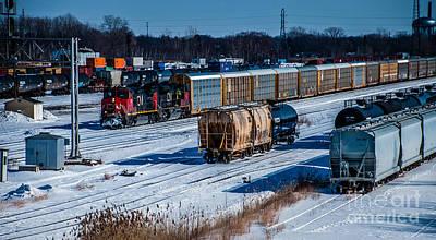 Photograph - Port Huron Michigan Train Yard by Ronald Grogan