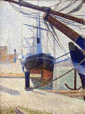 Pointilist Painting - Port In Honfleur by Georges Seurat