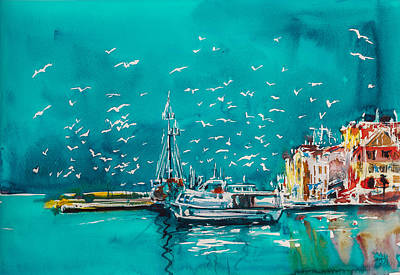 Sea Birds Painting - Port by Kovacs Anna Brigitta