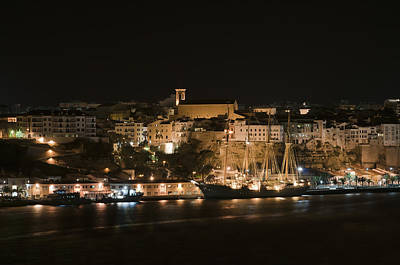 Photograph - Juan Sebastian De Elcano Famous Tall Ship Of Spanish Navy Visits Port Mahon At Night 1 by Pedro Cardona Llambias