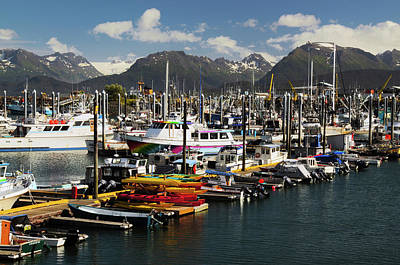 Homer Photograph - Port Of Homer, Alaska, Usa, With Kenai by Michel Hersen