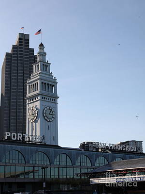 Port Of San Francisco Ferry Building On The Embarcadero - 5d20833 Art Print by Wingsdomain Art and Photography