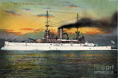 Photograph - Port Side Of  The Battleship Illinois Bb-7 Circa 1908 by California Views Mr Pat Hathaway Archives