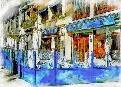Port Town Digital Art - Port Vell Seafood Place In Barcelona by Yury Malkov