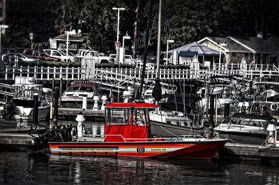 Selective Color Photograph - Port Washington Fire Department Marine Boat by Mary Machare