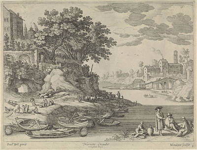 Rowboat Drawing - Port With Rowboats, Figures And Cattle, Willem Van by Artokoloro