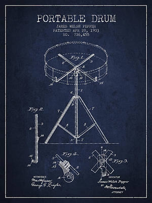 Drummer Drawing - Portable Drum Patent Drawing From 1903 - Blue by Aged Pixel