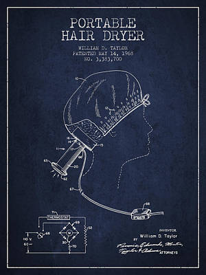 Portable Hair Dryer Patent From 1968 - Navy Blue Art Print by Aged Pixel