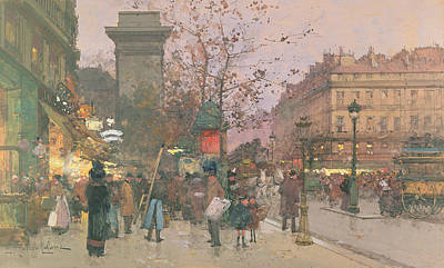 Lamppost Painting - Porte Saint Denis by Eugene Galien-Laloue