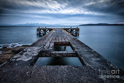 Portencross Pier  And Views To Arran Art Print by John Farnan