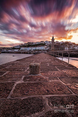 Cornish Wall Art - Photograph - Porthleven Pier Sunrise by John Farnan