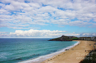 Photograph - Porthmeor Beach And St Ives Island by Terri Waters