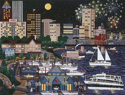 Painting - Portland @ Night by Jennifer Lake