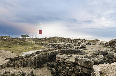 Portland Bill Lighthouse Moody Skies Art Print