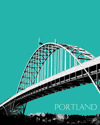 Oregon Art Digital Art - Portland Bridge - Teal by DB Artist