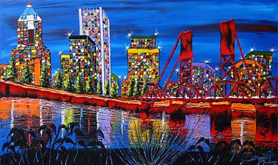 Portland City Lights 34 Art Print by Portland Art Creations