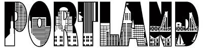 Portland City Skyline Text Outline Illustration Art Print