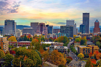 Scenic Photograph - Portland Downtown Cityscape In The Fall by David Gn