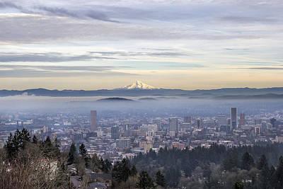 Portland Downtown Foggy Cityscape Art Print