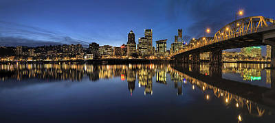 Oregon Photograph - Portland Downtown Skyline By Hawthorne Bridge At Blue Hour Panor by David Gn