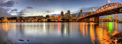 Pacific Northwest Photograph - Portland Downtown Skyline Night Panorama 2 by David Gn