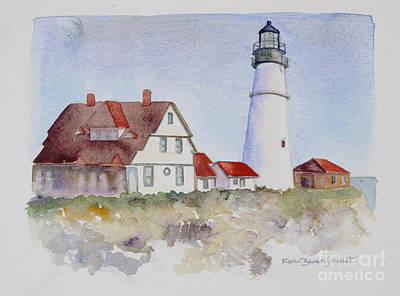 Portland Head Lighthouse Painting - Portland Head by Karen Bauer Schmidt
