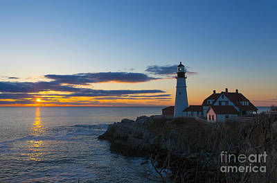 Lighthouse Photograph - Portland Head Light At Sunrise by Diane Diederich