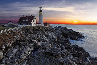 Portland Head Light Awakes Art Print by Susan Candelario