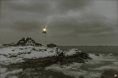 Photograph - Portland Head Light In Snow by John Meader